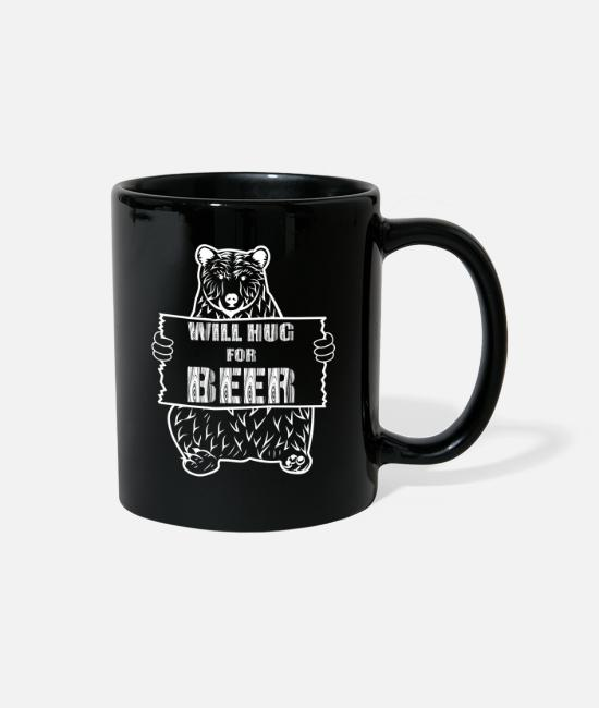 Hug Me Mugs & Cups - Will Hug for Beer Drinking Festival T Shirt Gift - Full Color Mug black