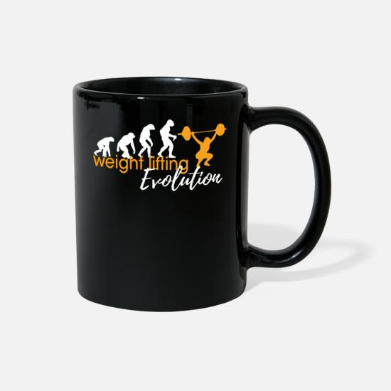 Squat Mugs & Drinkware - WEIGHT LIFTING EVOLUTION - Full Color Mug black