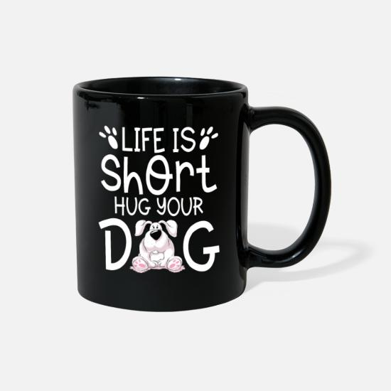 Jack Mugs & Drinkware - Life is short hug your Dog cute puppy gift - Full Color Mug black