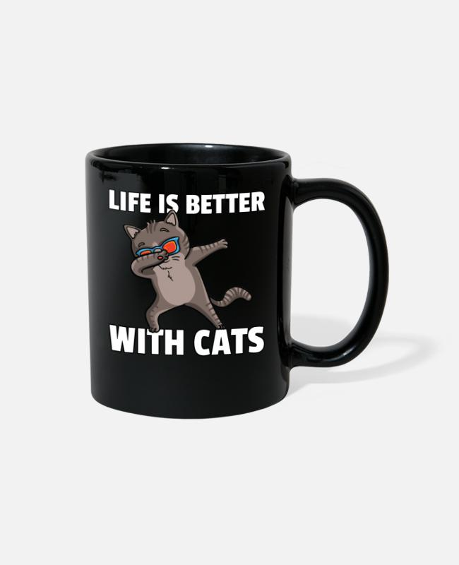 Cats Mugs & Cups - Dabbing Cat Lover Dance Funny Dab - Full Color Mug black