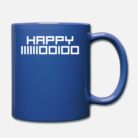 New Mugs & Drinkware - Happy 2020 binary code Geeky New Year's Eve Party - Full Color Mug royal blue