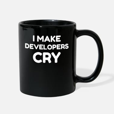 Review QA Engineer Funny I Make Developers Cry design tee - Full Color Mug