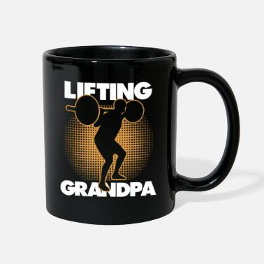 Man Lifting Grandpa| Silhoutte Old Man| Weightlifting - Full Color Mug