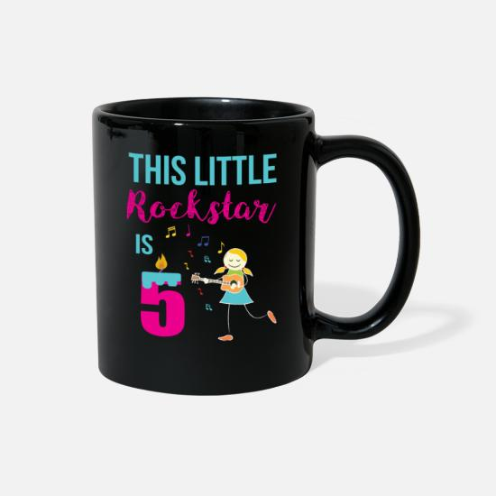 Birthday Mugs & Drinkware - 5th Birthday Rock Star for Girls 5 Year Old Rocks - Full Color Mug black