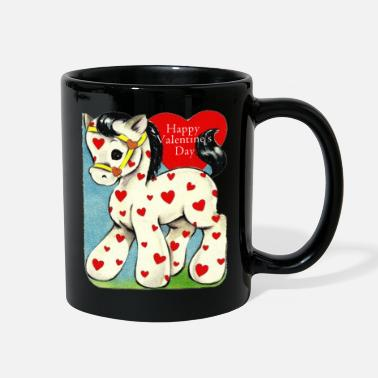 Valentine's Day, white toy horse with red hearts. - Full Color Mug