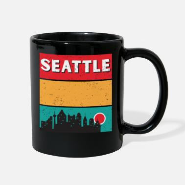 Native Distressed Retro Seattle Washington Skyline - Full Color Mug