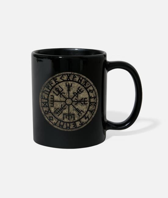 Viking Mugs & Cups - Vegvisir Iceland Compass Rune Nordic Symbol Viking - Full Color Mug black