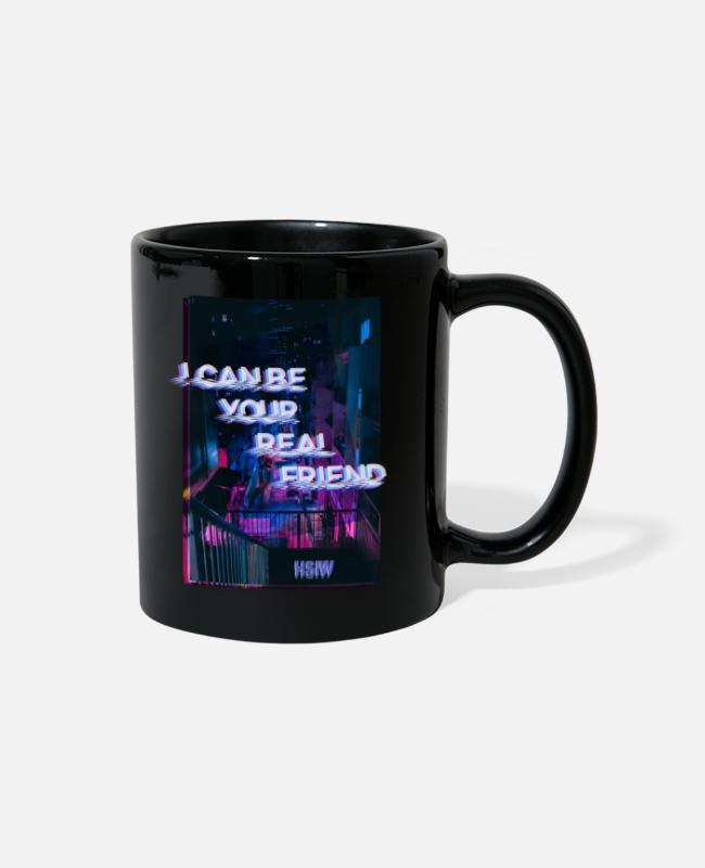 Friendship Mugs & Cups - I Can be your Real Friend. Wish - Full Color Mug black