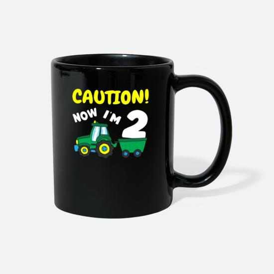 Tractor Mugs & Drinkware - Now i'm 3 Tractor 3rd Birthday Farmer Boy 3 year - Full Color Mug black