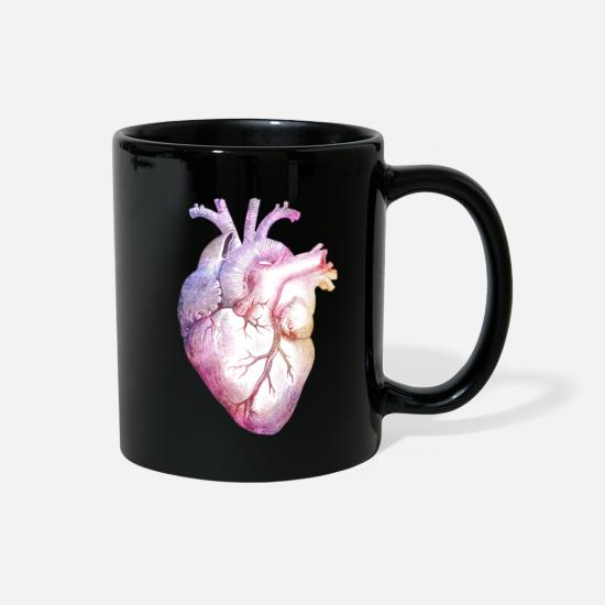 Rainbow Mugs & Drinkware - Anatomical Heart with colors - Full Color Mug black
