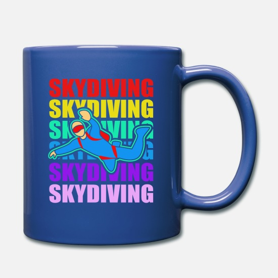 Parachuting Mugs & Drinkware - Skydiving Skydive Skydiver Parachute Base Jump - Full Color Mug royal blue