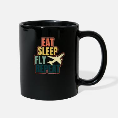 Army Aviation Retro Airplane Eat Sleep Repeat Gift - Full Color Mug