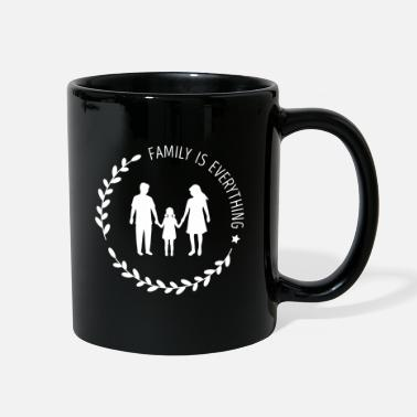 Silhouette Mom Dad Daugter Silhouette, Family is Everything - Full Color Mug