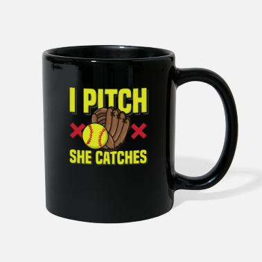Cool Baseball Dad Softball - I Pitch She Catches - Full Color Mug