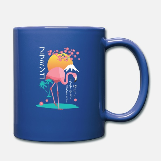Cherry Tree Mugs & Drinkware - Japanese flamingo with japanese cherry blossom - Full Color Mug royal blue