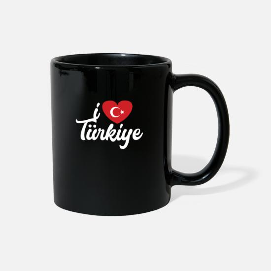 Love Mugs & Drinkware - I Love Turkey Turkish Heart Design Cool Gift Idea - Full Color Mug black