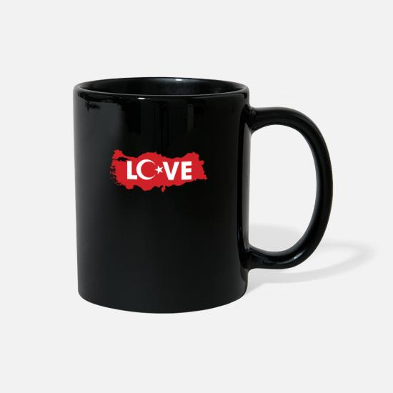 Turkish Mugs & Drinkware - Red Turkish Love Flag Symbol Design Cool Gift Idea - Full Color Mug black