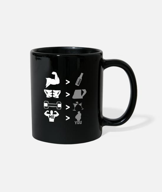 Biceps Bodybuilding Mugs & Cups - Gym Bodybuilding Fitness Motivation Sixpack Biceps - Full Color Mug black