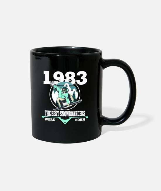 1983 Mugs & Cups - Snowboarder Gift 1983 Birthday Snowboarding - Full Color Mug black