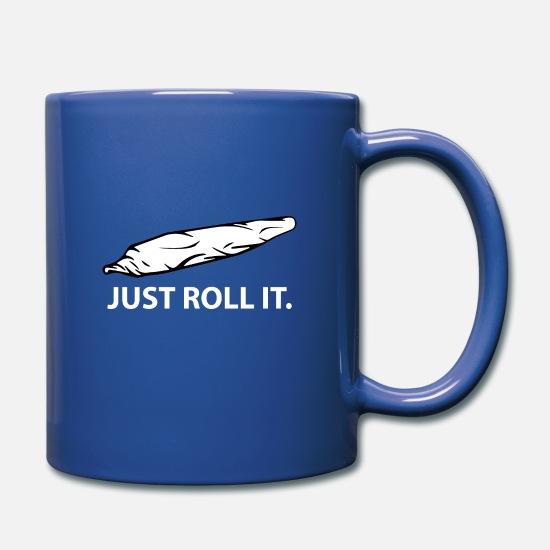 Spliff Mugs & Drinkware - Just Roll It Joint - Full Color Mug royal blue