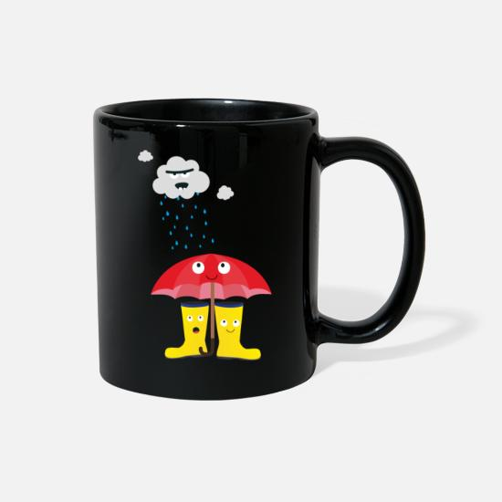 Skies Mugs & Drinkware - Raincloud, rubber boots and umbrella - Full Color Mug black