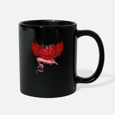 Cool Art Heart wings vintage cool art - Full Color Mug