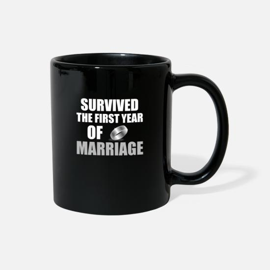Birthday Mugs & Drinkware - Marriage anniversary love funny present ring - Full Color Mug black