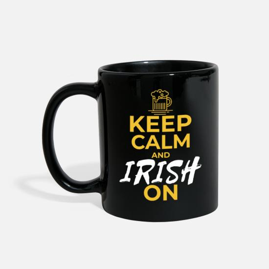 Typography Mugs & Drinkware - Keep Calm and Irish On - Full Color Mug black
