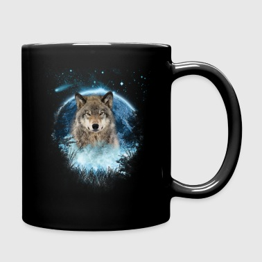 Grey Wolf Blue Moon Full Scape - Full Color Mug