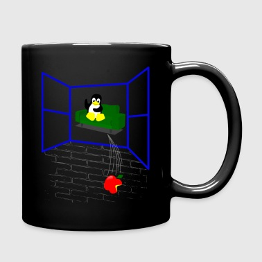 Linux penguin Throws an Apple out the Window - Full Color Mug