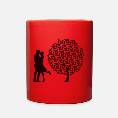 Valentines &amp Couple & tree of hearts - Full Color Mug