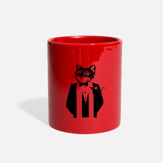 Tuxedo Mugs & Drinkware - Cat in a tuxedo - Full Color Mug red