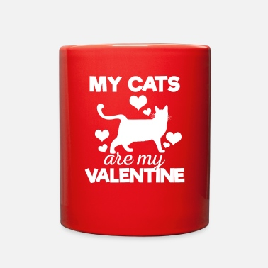 Cute My Cats are My Valentine Tshirt - Full Color Mug