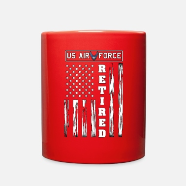 US AIR FORCE Retired - Distressed American Flag - Full Color Mug