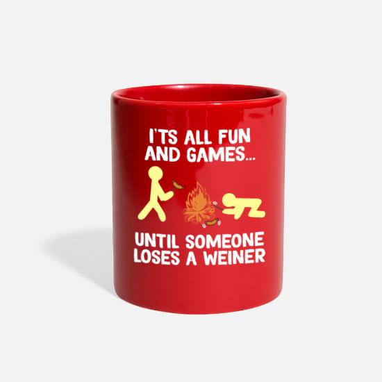 Camping Mugs & Drinkware - Funny & Cute Weiner Tshirt Designs Fun and games - Full Color Mug red