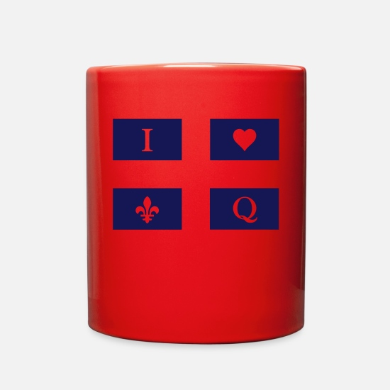Country Mugs & Drinkware - Quebec Flag white background - Full Color Mug red