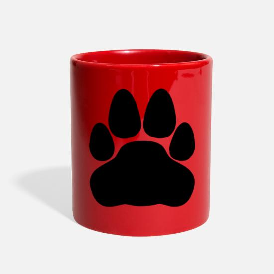Black Cat Paw Print Full Color Mug - red