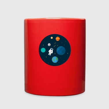 Flat Design Astronaut Cosmic Space Planets SciFi - Full Color Mug