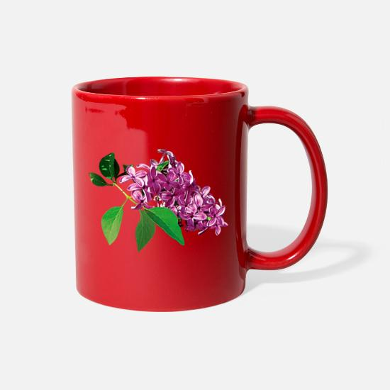 Spring Mugs & Drinkware - Small Cluster of Pink Lilacs - Full Color Mug red