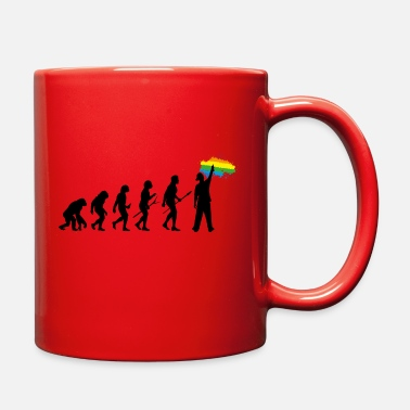 Rainbow Human evolution graffiti man drawing rainbow color - Full Color Mug
