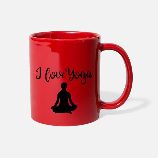 Symbol  Mugs & Drinkware - i love yoga 2 - Full Color Mug red