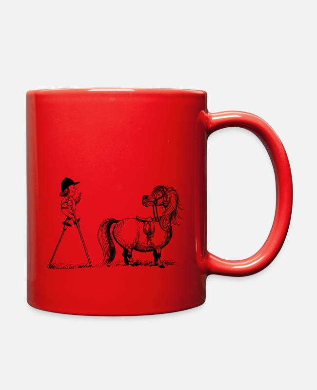 Riding Academy Mugs & Cups - Thelwell Penelope Mounting Horse with Stilits - Full Color Mug red
