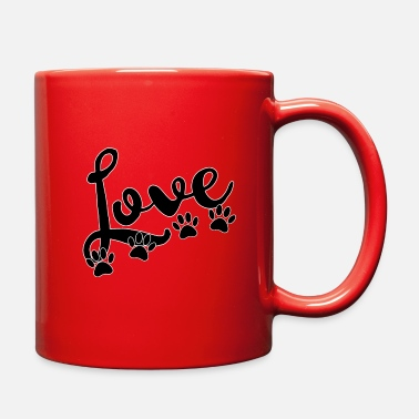 love typography with 4 dog paw prints - Full Color Mug