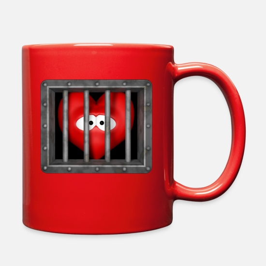 Love Mugs & Drinkware - heart behind bars - Full Color Mug red