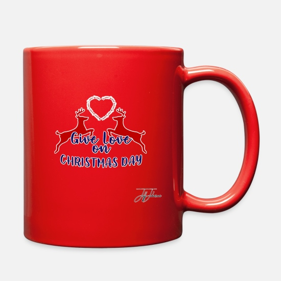 Christmas Carols Mugs & Drinkware - Christmas Design by Jeff Johnson - Full Color Mug red