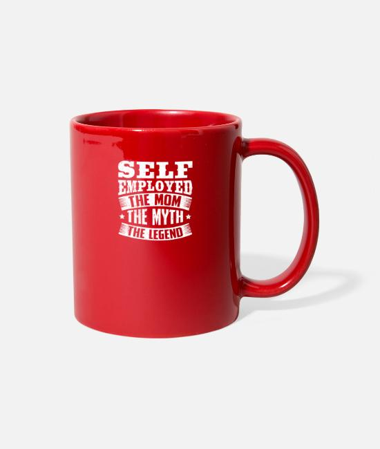 Salary Mugs & Cups - Meme Self Employed Design Quote The Legend - Full Color Mug red