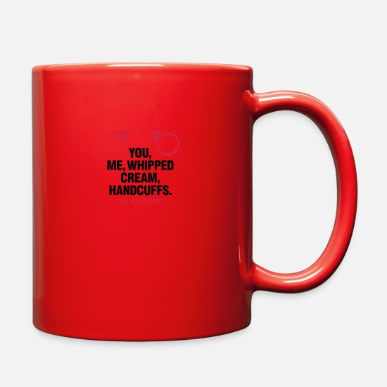 Humor Mugs & Drinkware - Lets Enjoy! You, Me, Whipped Cream And Handcuffs! - Full Color Mug red