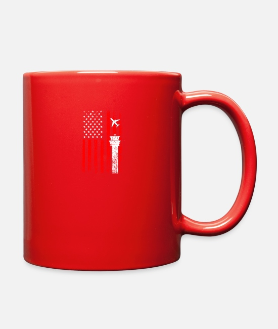 Air Traffic Controllerclothing Mugs & Cups - American Flag US, air traffic control - Full Color Mug red