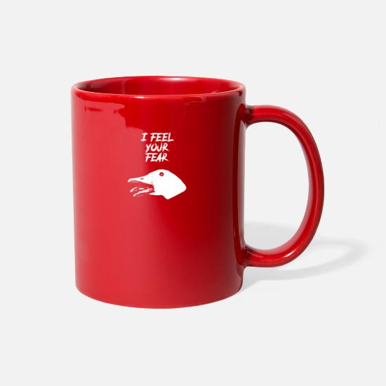 Meme Mugs & Drinkware - I Feel Your Fear - Creepy Goose Causes Goosebumps - Full Color Mug red