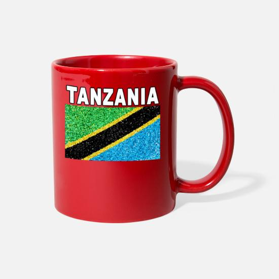 Artist Mugs & Drinkware - Tanzania Flag Stained Glass Artistic Design - Full Color Mug red